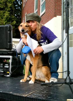 PAWSwalk Emcee Lee Callahan with her adopted dog Archie