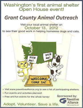 Statewide Animal Shelter Open House, Saturday, October 13, 2012