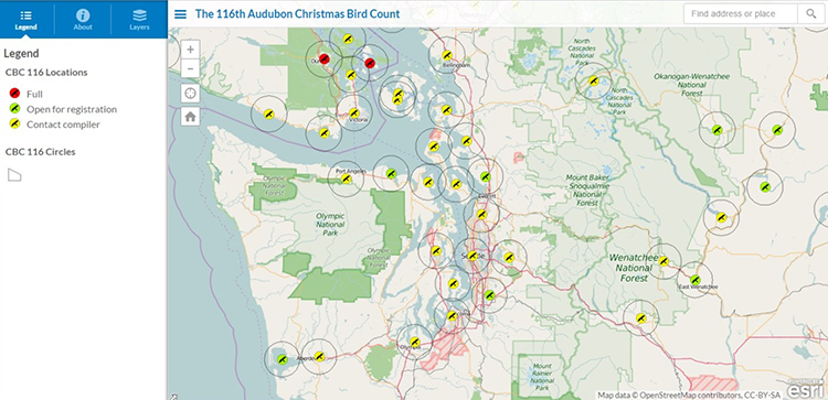 Christmas bird count-WA map