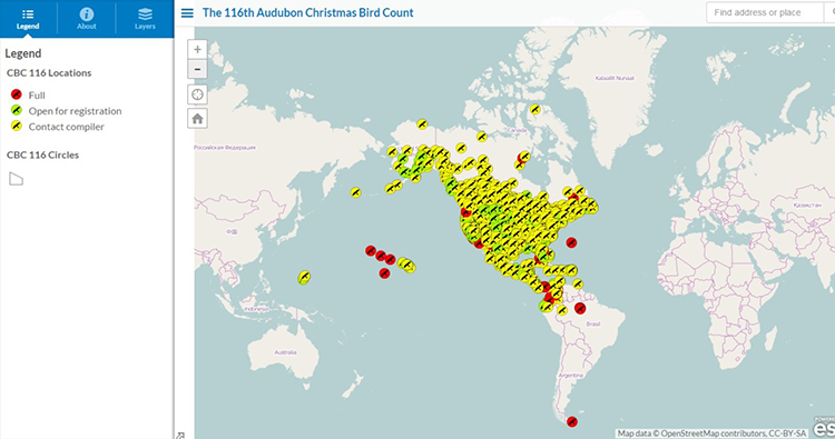 Christmas bird count-world map